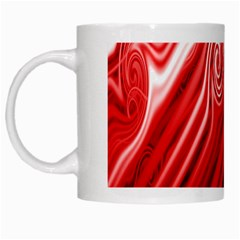 Red Abstract Swirling Pattern Background Wallpaper White Mugs
