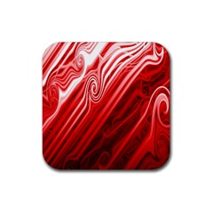 Red Abstract Swirling Pattern Background Wallpaper Rubber Coaster (square)