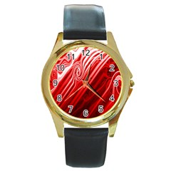 Red Abstract Swirling Pattern Background Wallpaper Round Gold Metal Watch