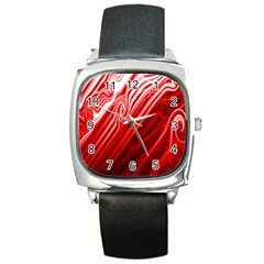 Red Abstract Swirling Pattern Background Wallpaper Square Metal Watch