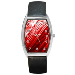 Red Abstract Swirling Pattern Background Wallpaper Barrel Style Metal Watch