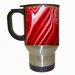 Red Abstract Swirling Pattern Background Wallpaper Travel Mugs (white)