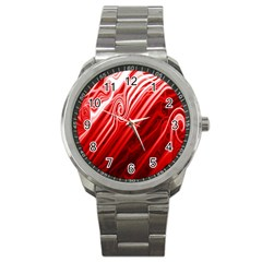 Red Abstract Swirling Pattern Background Wallpaper Sport Metal Watch