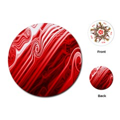 Red Abstract Swirling Pattern Background Wallpaper Playing Cards (round)