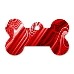 Red Abstract Swirling Pattern Background Wallpaper Dog Tag Bone (one Side)