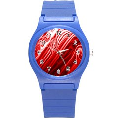 Red Abstract Swirling Pattern Background Wallpaper Round Plastic Sport Watch (S)