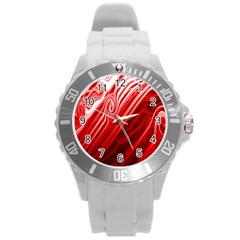 Red Abstract Swirling Pattern Background Wallpaper Round Plastic Sport Watch (L)