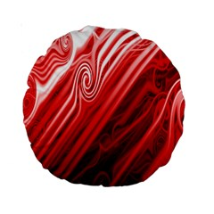 Red Abstract Swirling Pattern Background Wallpaper Standard 15  Premium Round Cushions