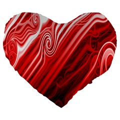 Red Abstract Swirling Pattern Background Wallpaper Large 19  Premium Heart Shape Cushions