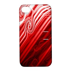 Red Abstract Swirling Pattern Background Wallpaper Apple Iphone 4/4s Hardshell Case With Stand