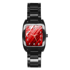 Red Abstract Swirling Pattern Background Wallpaper Stainless Steel Barrel Watch