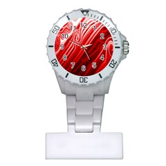 Red Abstract Swirling Pattern Background Wallpaper Plastic Nurses Watch