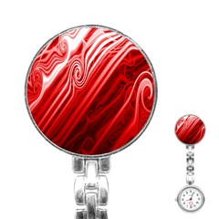 Red Abstract Swirling Pattern Background Wallpaper Stainless Steel Nurses Watch