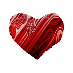 Red Abstract Swirling Pattern Background Wallpaper Standard 16  Premium Flano Heart Shape Cushions