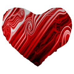 Red Abstract Swirling Pattern Background Wallpaper Large 19  Premium Flano Heart Shape Cushions