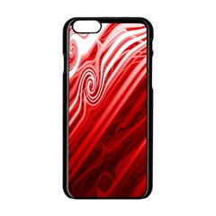 Red Abstract Swirling Pattern Background Wallpaper Apple iPhone 6/6S Black Enamel Case