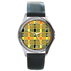 Yellow Orange And Black Background Plaid Like Background Of Halloween Colors Orange Yellow And Black Round Metal Watch