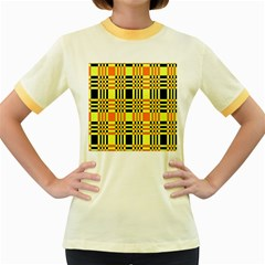 Yellow Orange And Black Background Plaid Like Background Of Halloween Colors Orange Yellow And Black Women s Fitted Ringer T-Shirts