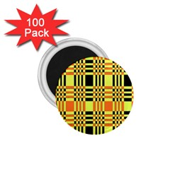Yellow Orange And Black Background Plaid Like Background Of Halloween Colors Orange Yellow And Black 1 75  Magnets (100 Pack)