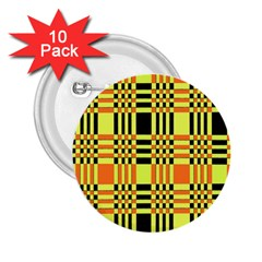 Yellow Orange And Black Background Plaid Like Background Of Halloween Colors Orange Yellow And Black 2 25  Buttons (10 Pack)