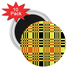 Yellow Orange And Black Background Plaid Like Background Of Halloween Colors Orange Yellow And Black 2 25  Magnets (10 Pack)