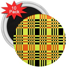 Yellow Orange And Black Background Plaid Like Background Of Halloween Colors Orange Yellow And Black 3  Magnets (10 Pack)