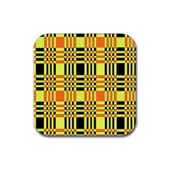 Yellow Orange And Black Background Plaid Like Background Of Halloween Colors Orange Yellow And Black Rubber Coaster (Square)