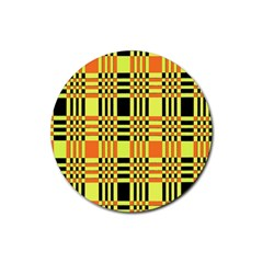 Yellow Orange And Black Background Plaid Like Background Of Halloween Colors Orange Yellow And Black Rubber Round Coaster (4 Pack)