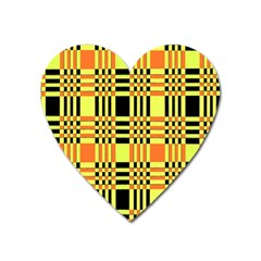 Yellow Orange And Black Background Plaid Like Background Of Halloween Colors Orange Yellow And Black Heart Magnet