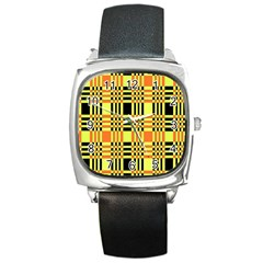Yellow Orange And Black Background Plaid Like Background Of Halloween Colors Orange Yellow And Black Square Metal Watch
