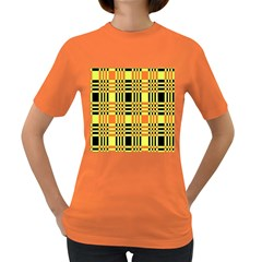 Yellow Orange And Black Background Plaid Like Background Of Halloween Colors Orange Yellow And Black Women s Dark T Shirt