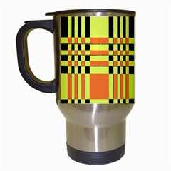 Yellow Orange And Black Background Plaid Like Background Of Halloween Colors Orange Yellow And Black Travel Mugs (White)