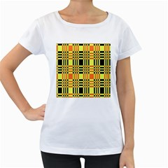 Yellow Orange And Black Background Plaid Like Background Of Halloween Colors Orange Yellow And Black Women s Loose-Fit T-Shirt (White)