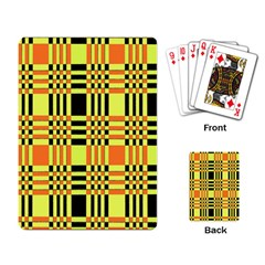 Yellow Orange And Black Background Plaid Like Background Of Halloween Colors Orange Yellow And Black Playing Card