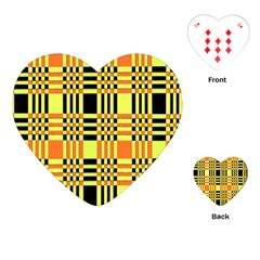 Yellow Orange And Black Background Plaid Like Background Of Halloween Colors Orange Yellow And Black Playing Cards (heart)