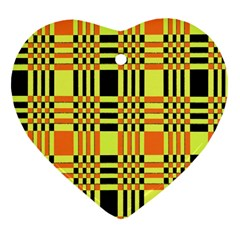 Yellow Orange And Black Background Plaid Like Background Of Halloween Colors Orange Yellow And Black Heart Ornament (Two Sides)