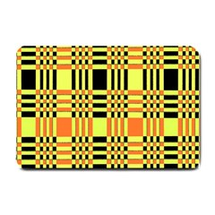 Yellow Orange And Black Background Plaid Like Background Of Halloween Colors Orange Yellow And Black Small Doormat