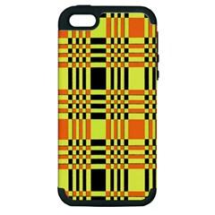 Yellow Orange And Black Background Plaid Like Background Of Halloween Colors Orange Yellow And Black Apple iPhone 5 Hardshell Case (PC+Silicone)