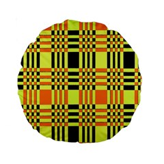 Yellow Orange And Black Background Plaid Like Background Of Halloween Colors Orange Yellow And Black Standard 15  Premium Round Cushions