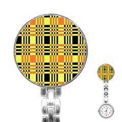 Yellow Orange And Black Background Plaid Like Background Of Halloween Colors Orange Yellow And Black Stainless Steel Nurses Watch