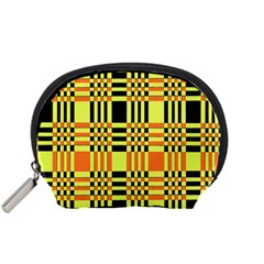 Yellow Orange And Black Background Plaid Like Background Of Halloween Colors Orange Yellow And Black Accessory Pouches (Small)