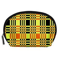 Yellow Orange And Black Background Plaid Like Background Of Halloween Colors Orange Yellow And Black Accessory Pouches (Large)