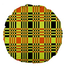 Yellow Orange And Black Background Plaid Like Background Of Halloween Colors Orange Yellow And Black Large 18  Premium Flano Round Cushions