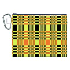 Yellow Orange And Black Background Plaid Like Background Of Halloween Colors Orange Yellow And Black Canvas Cosmetic Bag (xxl)