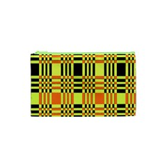 Yellow Orange And Black Background Plaid Like Background Of Halloween Colors Orange Yellow And Black Cosmetic Bag (XS)