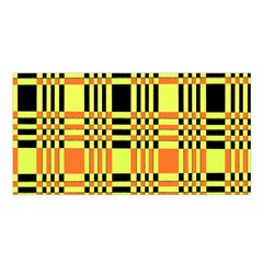 Yellow Orange And Black Background Plaid Like Background Of Halloween Colors Orange Yellow And Black Satin Shawl