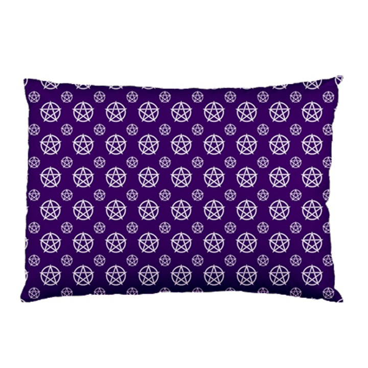 Deep Purple White Pentacle Pagan Wiccan Pillow Case (Two Sides)