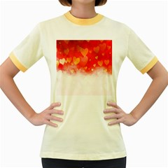 Abstract Love Heart Design Women s Fitted Ringer T-Shirts