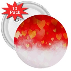 Abstract Love Heart Design 3  Buttons (10 Pack)