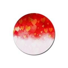 Abstract Love Heart Design Rubber Coaster (round)